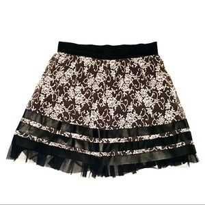 Floral Lace Black & Off White Skirt by Joe B